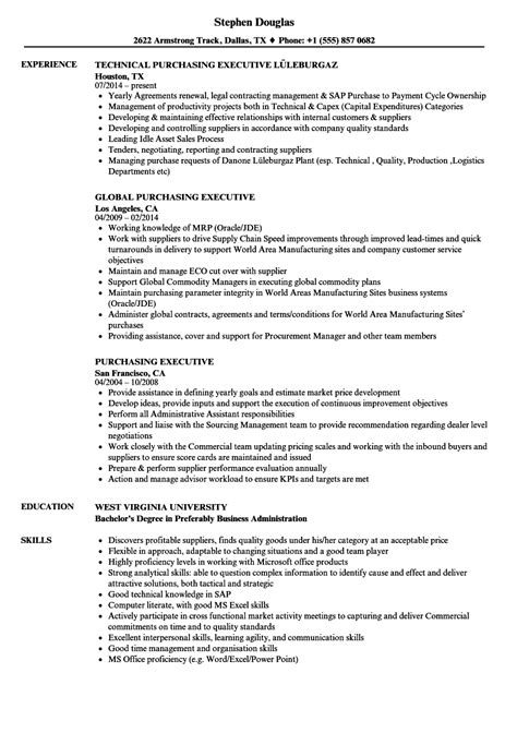 purchase executive resume format purchasing resume sle validation manager cover letter
