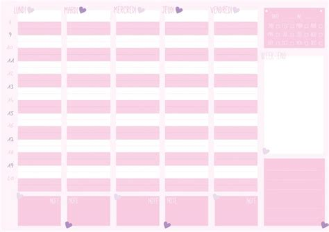 Girly Weekly Planner Printable | semainier printable printable weekly planner girly