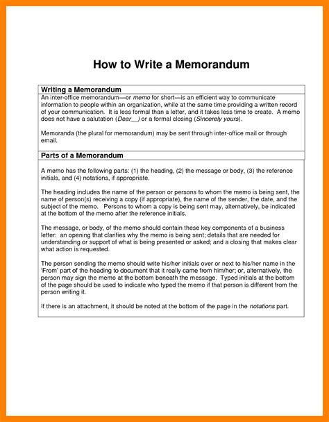 how to write a memo template 4 how to write a memorandum emt resume