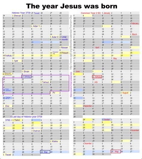 Calendar When Jesus Was Born 08 June 2013