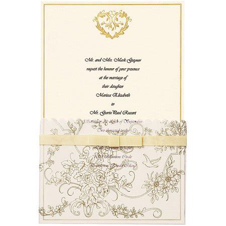 wilton wedding gold sweetheart invitation set 50 count wilton invitation kit 25 pkg gold wedding toile walmart