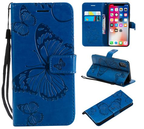 iphone xr wallet case allytech pretty retro embossed butterfly flower design pu leather book