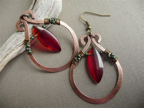wire wrapped jewelry handmade copper earrings by