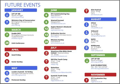 template for schedule of events yearly events calendar templates free printable