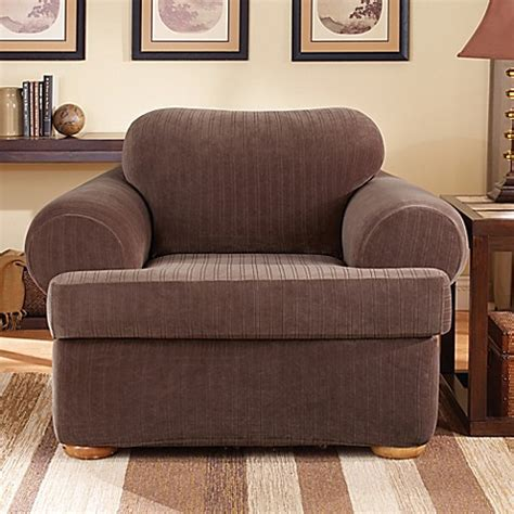 bed bath beyond slipcovers sure fit 174 stretch pinstripe 2 piece t cushion chair