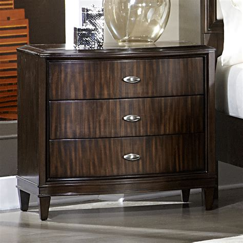 Curved Nightstand by Tribecca Home Cumbria Retro Modern Curved Front 3 Drawer