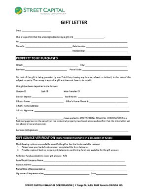 Financial Gift Letter Canada letter of financial support forms and templates fillable