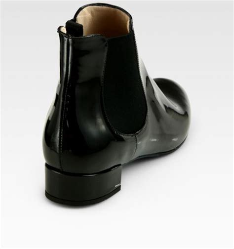 prada patent leather ankle boots in black lyst