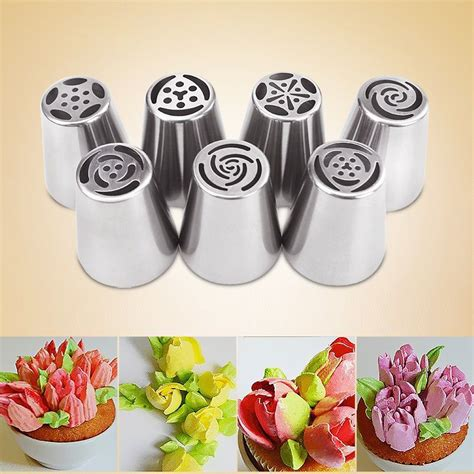 home cake decorating supply 7pcs russian icing piping nozzles for cake decorating