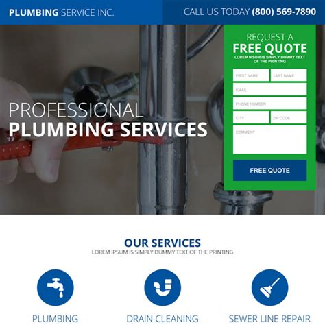 quality plumbing service lead magnet responsive landing page