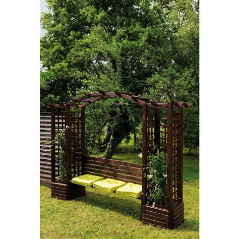 pergola avec banc pergola en bois avec banc et bacs 224 fleurs longueur 233