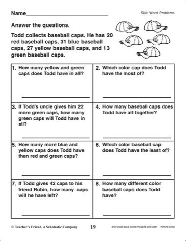 2nd Grade Math Word Problems Worksheets by 2nd Grade Math Word Problem Worksheets Worksheets