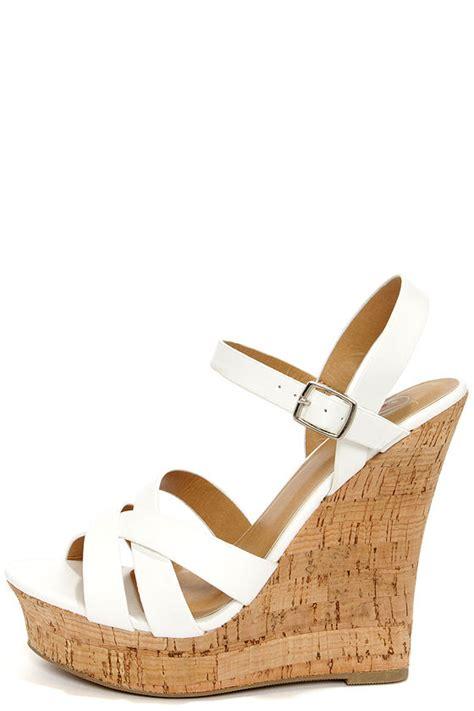 white heels peep toe heels wedge sandals 28 00