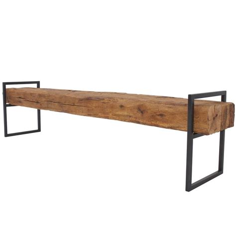steel bench frame modern minimal beam bench reclaimed structural oak beams
