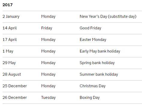 bank holidays uk uk bank holidays 2017