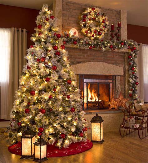 fairfax lighted decorated christmas tree  flocking  collection accessories home
