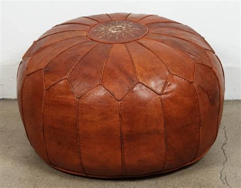 leather pouf ottoman large vintage moroccan leather pouf at 1stdibs