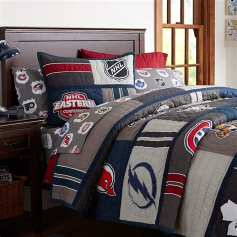 nhl bedding nhl 174 patchwork quilt sham pbteen