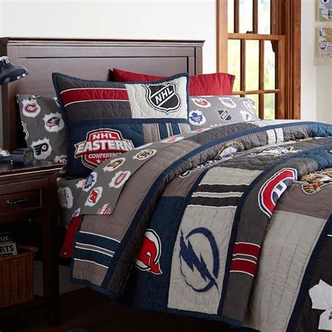 hockey comforter nhl 174 patchwork quilt sham pbteen