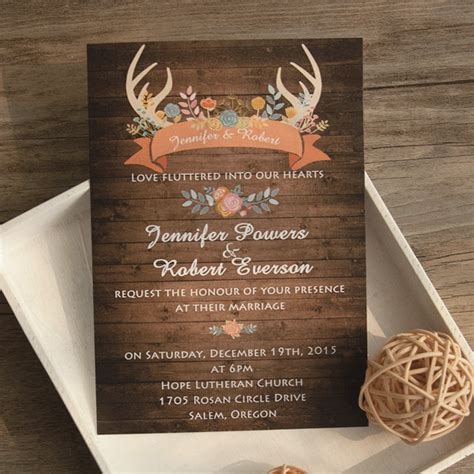rustic photo wedding invitations wood antler flower rustic wedding invites ewi417 as low as