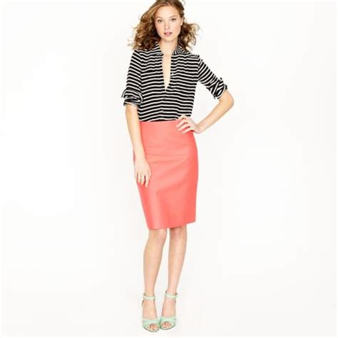 j crew no 2 pencil skirt in serge cotton in pink