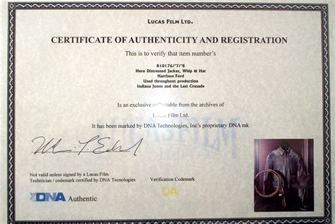 photography certificate of authenticity template analysis indiana jones fedora bullwhip jacket with