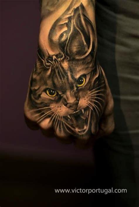 tattoo cat realistic realistic hand cat tattoo by victor portugal
