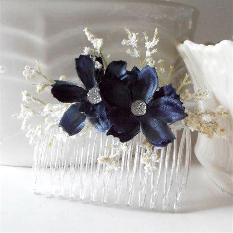 Wedding Hair Accessories Navy by Navy Blue Flower Hair Combs Bridesmaid Hair Accessories