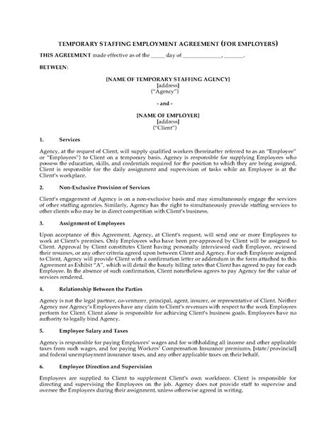 staffing contract template temporary staffing agreement form forms and