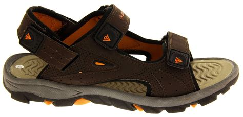 Original Sledgers Dunlop Sandals Leather Brown mens dunlop leather effect sandal casual flat shoes