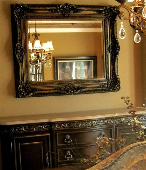 painted buffet and mirror traditional dining room