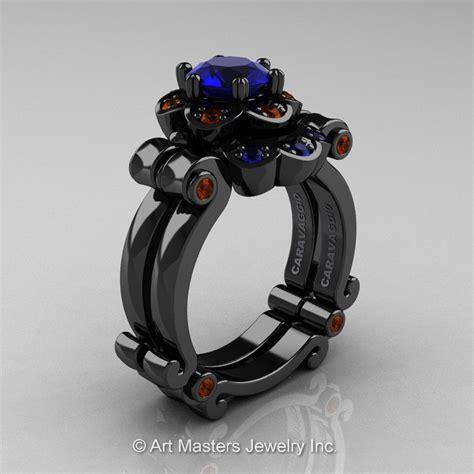 Black Sapphire 6 8 Ct masters caravaggio 14k black gold 1 0 ct blue sapphire