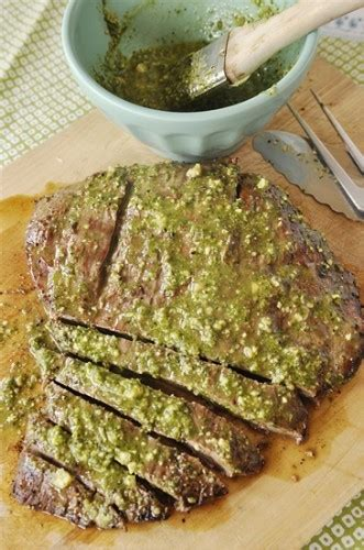 how can chicken sit at room temperature flank steak with pesto