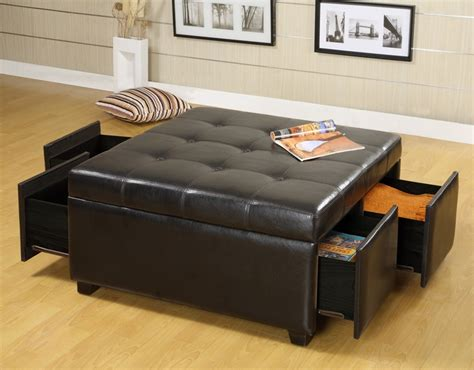 storage ottoman with drawers espresso leather square storage ottoman with drawers