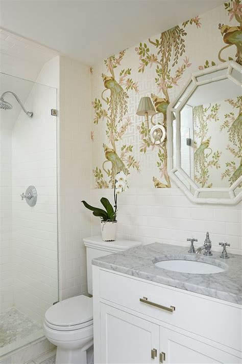 Small Bathroom Wallpaper by Bamboo Mirror Bathroom Wallpaper And Mirror Vanity On