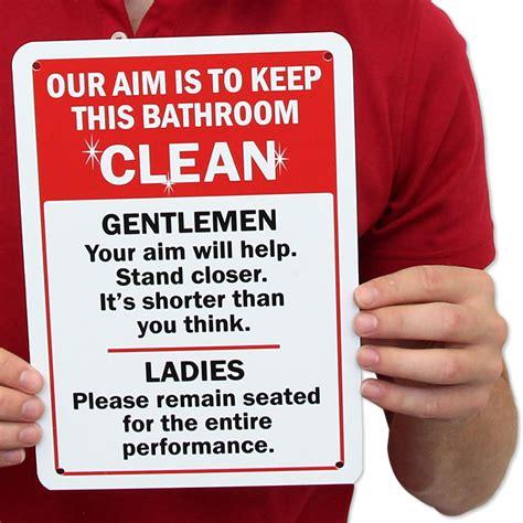 bathroom signages humorous sign keep bathroom clean best prices sku s 5611