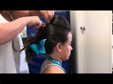 straight puffy cheer ponytail hair with ponytail and straight poof for cheer time and