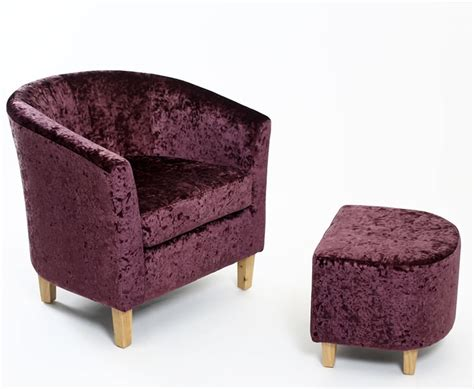 Tub Chair And Stool by Falkirk Grape Crushed Velvet Tub Chair And Stool Uk Delivery