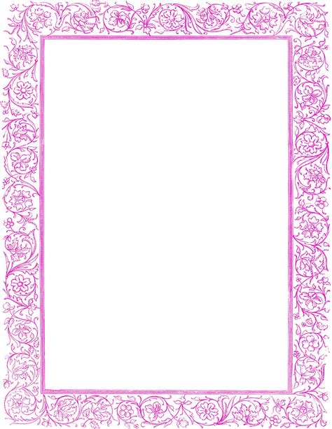 Bordir Purple floral border purple printables ephemera floral border