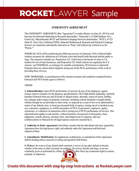 Indemnity Agreement Template Form With Sle Indemnification Agreement Template