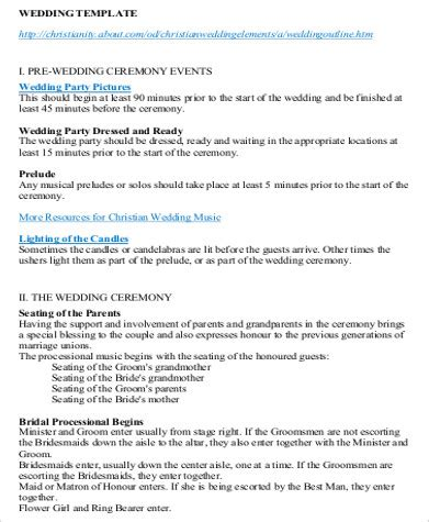 Wedding Ceremony Agenda by Wedding Agenda Sle 7 Exles In Word Pdf