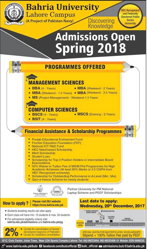 Mba Ms Computer Science by Bahria Lahore Cus Admission 2017 Unite