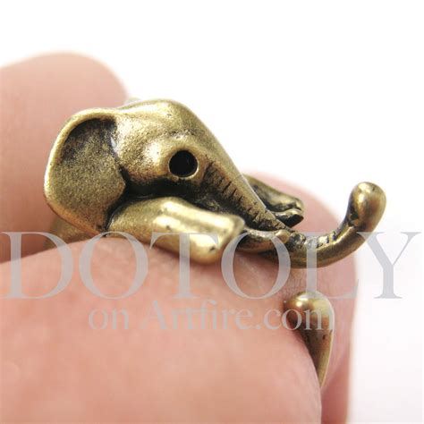 miniature elephant animal wrap ring in bronze sizes 5 to
