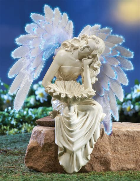 angel statue with solar light solar power angel garden sitter statue with color changing