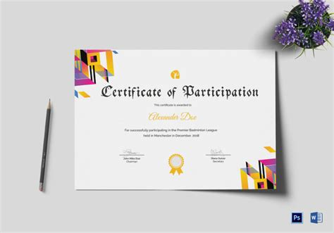 badminton certificate template badminton certificate 4 word psd format