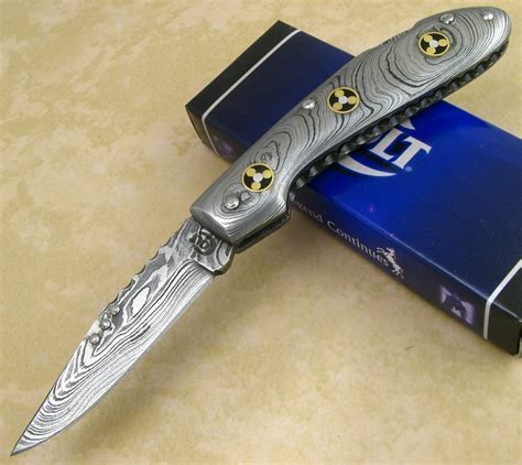 fancy knives colt folding damascus steel handle blade lockback pocket