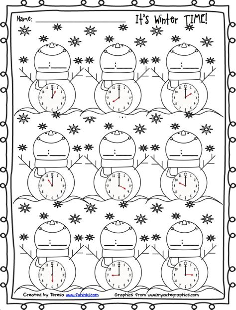 homeschool printable time sheets free winter printables for telling time