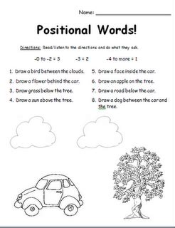 Preschool Positional Words Worksheets by Positional Words Assessment Can Change The Words To Other