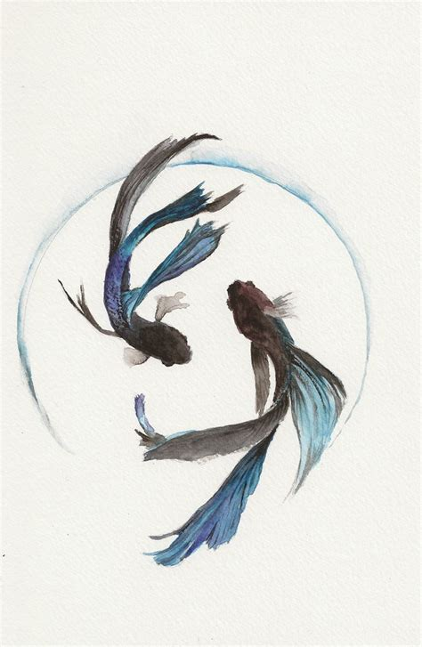 watercolor tattoo danmark blue fighting fish 6 x9 original watercolor painting