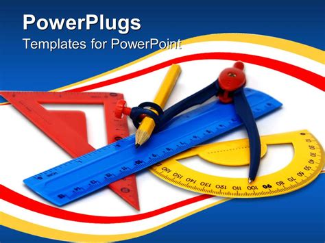 Powerpoint Template Math Tools With Yellow Red Blue Powerplugs Templates